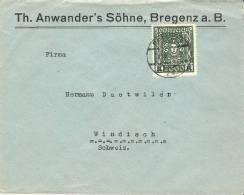 Geschäftsbrief Von BREGENZ 31.VIII.23 Nach Windisch Mit Mi 405a (AK-o BRUGG 1.IX.23) - 1918-1945 1. Republik