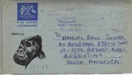 ENTERO POSTAL  AEROGRAMME  GORILLA  TANZANIA 31 DE ENERO DE 1977     OHL
