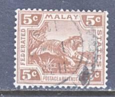 Malay 59  (o)  Wmk 4 Script CA  TIGER - Federated Malay States