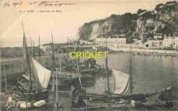 06 Nice, Cp Pionnière, Entrée Du Port, Beaux Bateaux De Pêche, Affranchie Dr Gare De Nice 1903 - Non Classés