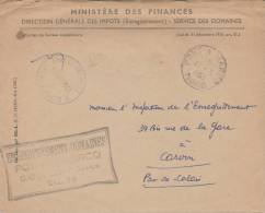 """Cachet """"ENREGISTREMENT PONT A MARCQ A"""" NORD DOMAINES  Lettre Franchise Ministère Eds  Finances - Marcofilia (sobres)"""