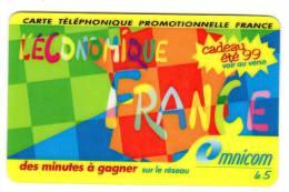 Télécarte Prépayée Usagée: Omnicarte L´ECONOMIQUE FRANCE Des Minutes à Gagner Exp. 31/08/1999 - Frankreich