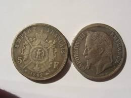 1862 FAUSSE MONNAIE COPIE DE LA RARE 5 FRANCS ARGENT 1862 A NAPOLEON III 3 TETE LAUREE SECOND EMPIRE COPIE - France