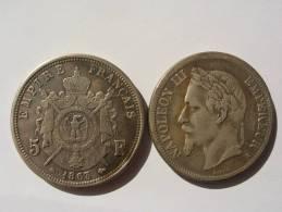 1863 FAUSSE MONNAIE COPIE DE LA RARE 5 FRANCS ARGENT 1863 A NAPOLEON III 3 TETE LAUREE SECOND EMPIRE ECU COPIE - France