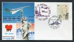 1987 Paris - New York - Paris Air France Concorde Flight Cover X 2 - Concorde