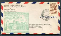1946 Mexico - Houston Texas USA Pan Am Clipper First Flight Cover - México