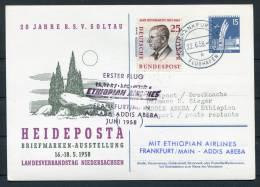 1958 Heideposta Exhibition Ethiopian Airways Flight Card Frankfurt Germany - Addis Abeba - Ethiopia