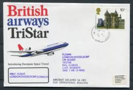 1978 London - Dusseldorf Germany - London British Airways Tristar First Flight Covers (2) - 1952-.... (Elizabeth II)