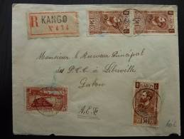 LETTRE RECOMMANDEE DE KANGO GABON 1934 BON BUREAU  COVER
