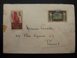 LETTRE AVEC TP SURCHARGES AEF DE PORT GENTIL  1934 POUR PARIS   COVER