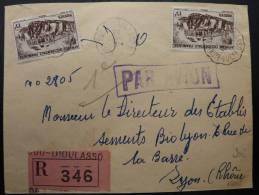LETTRE RECOMMANDEE PAR AVION DE BOBO DIOULASSO CAD ONDULE  1951  =>  FRANCE  TP AOF COVER