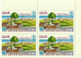 PAKISTAN 1995 MNH 50 YEARS OF SERVICE TO HUMANITY OF UNITED NATIONS FOOD FOR ALL VILLAGE IRRIGATED FIELD Block Of Four - Pakistan