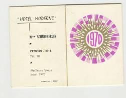 Calendrier  Almanach 1970  Hôtel Moderne Crozon 29 Mme Schneeberger - Petit Format : 1961-70