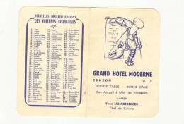 Calendrier  Almanach 1963  Grand Hôtel Moderne Crozon 29 Mme Schneeberger Chef De Cuisine Homard & Toque - Petit Format : 1961-70