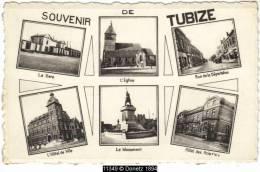 11349g GARE - EGLISE - Rue De La DEPORTATION - HOTEL De Ville - MONUMENT - HOTEL Des ACIERIES - Tubize - Mosaïque - Tubeke