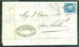 Lac Affranchie Par N°60 GC Rouen  GC 3219  En 1874  - Am0610 - Postmark Collection (Covers)