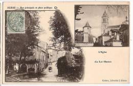 CPA Albas Rue Principale Et Place Publique L' Eglise 46 Lot - France