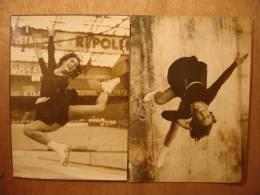 2 PHOTOS De 1948 - JAQUELINE DU BIEF PATINAGE PALAIS DE GLACE - Tirage D´époque - HELIER - INP INTERNATIONAL NEWS PHOTOS - Deportes