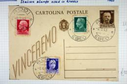 Italy: Rhodes/Rodi, Cartolina Postale With Italian  Stamps Used In Rhodes, 1943 - Ägäis (Rodi)