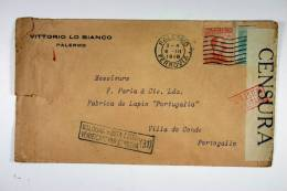 Italy: Cover Palermo  To Villa De Gonde, Portugal, 1918, Censor Opened And Cancelled, Nice Close Stamp - 1900-44 Vittorio Emanuele III