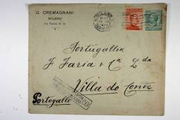 Italy: Cover Milano  To Villa De Gonde, Portugal, 1917, Censor Opened And Cancelled, Nice Close Stamp - 1900-44 Vittorio Emanuele III
