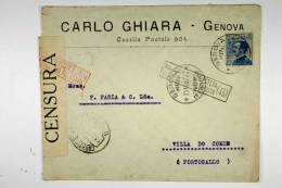 Italy: Cover Genova  To Villa De Gonde, Portugal, 1917, Censor Opened And Cancelled - 1900-44 Vittorio Emanuele III