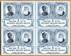 Bloc De 4 Timbres 1980 N° 1979 - 150 Ans De La Belgique, Roi Léopold II Et Reine Marie-Henriette - Belgium