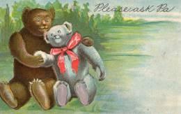 Carte Américaine Gaufrée . COUPLE D'OURS AMOUREUX . - Bears