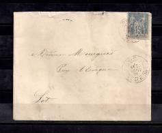 FRANCIA 1891, HISTORIA POSTAL, CARTA COMPLETA TOULOUSE / ALLEES ST. MICHEL - PUY L´EVEGNE - 1876-1898 Sage (Type II)