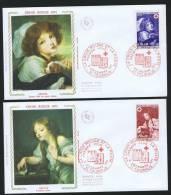 1971  Croix Rouge  Ouevres De Greuze:  Jeunne Fill Au Chien, L'oiseau Mort Yv 1700-1 - FDC