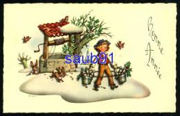 Bonne Année - Enfant - Puits - Lapins-  Champagne  - Oiseau  Illustrateur P.P. - CPA En Excellent état  - Réf : 26044 - Illustrateurs & Photographes