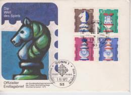 Allemagne YT 592/5 FDC : Pièces D'un Jeu D'échec - 1972 - Schaken