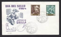 SOBRE PRIMER DIA DE CIRCULACION  DIA DEL SELLO  1964  CUADROS DE SOROLLA MATASELLO DE VALENCIA - FDC