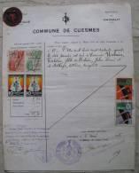 MARCHE DA BOLLO SU DOCUMENTO CONSOLATO BELGA A NAPOLI CUESMES BELGIO ANNO 1936 REGNO - Fiscali
