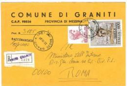 GRANITI  98036  PROV. MESSINA  - ANNO 1981 - R  - STORIA POSTALE DEI COMUNI D´ITALIA - POSTAL HISTORY - Affrancature Meccaniche Rosse (EMA)