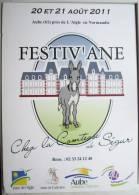 Carte Publicite Festiv ´ Ane Festival Litterature Cadichon Aigle Normandie Contesse De Segur - Publicités
