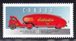 Canada MNH Scott #1605m 10c White Model WA 122 Tractor-Trailer - Historic Land Vehicles Collection - Unused Stamps