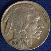 UNITED STATES USA STATI UNITI 5 CENTS INDIAN HEAD AND BUFALO 1938 D #1254A - 1913-1938: Buffalo