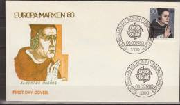 Deutschland, Germany, 1980, Europe, CEPT, Albertus Magnus, FDC - Celebrità