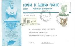 PADERNO PONCHIELLI 26100  PROV.CREMONA  - ANNO 1980  - R  -TEMATICA COMUNI D´ITALIA - STORIA POSTALE - Affrancature Meccaniche Rosse (EMA)