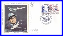 2502 (Yvert) Sur Enveloppe Premier Jour Illustrée Sur Soie - Hommage à Marcel Dassault - France 1988 - FDC