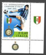 ITALIA ITALY STAMPS 2010  INTER CAMPIONE DITALIA 2009  - 2010 SOCCER ** NUOVO GOMMA INTEGRA - 2001-10:  Nuovi