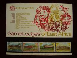 KUT 1975 EAST AFRICA GAME LODGES  Issue 4 Values To 2/50 MNH With PRESENTATION CARD. - Kenya, Uganda & Tanganyika
