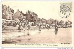 SAINT AUBIN LA PLAGE A MAREE HAUTE . SES PLAISANCIERS ET CABINES REF 8704 - Saint Aubin