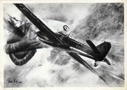 DEUTSCHE JAGDFLUGZEUGE Schießen Einen Französischen Fesselballon In Brand, Künstlerkarte Zeichnung R. Heß - Guerre 1914-18