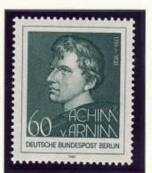 1981 Germany Berlin Complete MNH Poet Achim Von Arnim Set Of 1 Stamp  Michel # 637 - Unused Stamps
