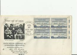 """USA - 1945  FDC """"TOWARD UNITED NATIONS"""" APRIL 25, 1945 - LEFT PHOTO OF YALTA CONFERENCE - U.N.CONFERENCE ON INTL ORGANIZ - Premiers Jours (FDC)"""