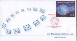 A)FDC WORLD POST DAY, DIA MUNDIAL DEL CORREO, MEXICO 2012, - Mexico