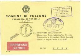 POLLONE  13057 PROV. VERCELLI - ANNO 1981 - TACDT EXP  -  TEMA TOPIC COMUNI D´ITALIA - STORIA POSTALE - Affrancature Meccaniche Rosse (EMA)