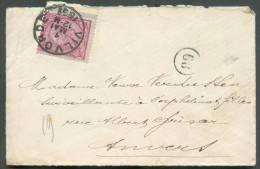 N°46 - 10 Centimes Rouge, Bord De Feuille Droit,  Obl. Sc VILVORDE S/Env. Carte De Visite Du 1 MAI 1891 Vers Anvers.  Su - 1884-1891 Léopold II